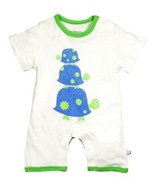 babysoy White & Green Turtle Organic Romper - Infant