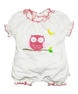 babysoy White & Pink Owl Ruffle Organic Romper - Infant