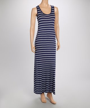 Heart & Hips White & Black Stripe Sleeveless Maxi Dress - Women