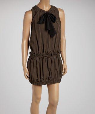 Beige Shirred Chiffon Yoke Dress