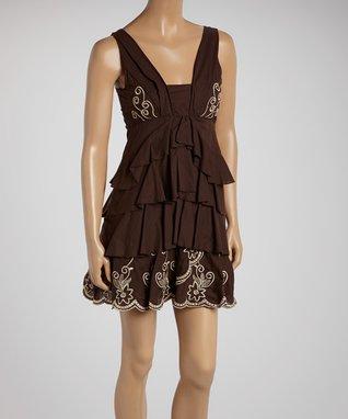 Taupe Tiered Ruffle Drop-Waist Dress