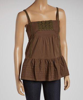 Mocha & Black Lace V-Neck Dress