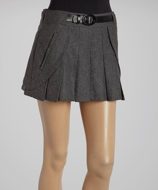 Charcoal Pleated Belted Wool-Blend Shorts