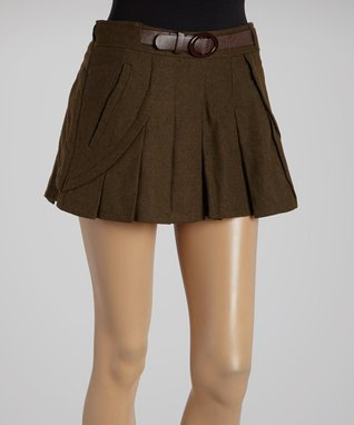 Black Pleated Belted Wool-Blend Shorts
