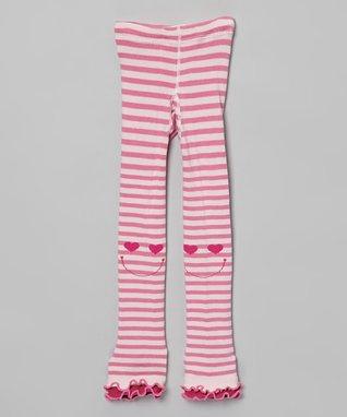 Pink Stripe Smile Footless Tights - Girls