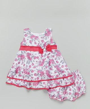 Hippo Hula Hot Pink Floral Pleat Front Dress & Bloomers - Infant