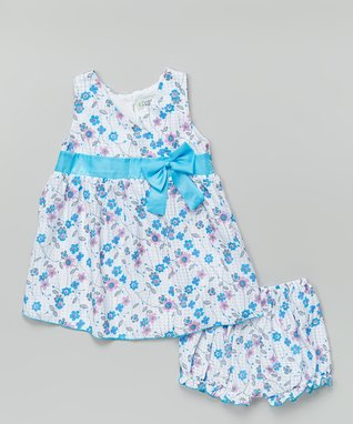 Duck Duck Goose Pink & White Polka Dot Flower Swing Tee Set - Infant