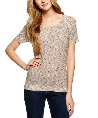 Taupe Stripe Lace V-Neck Top