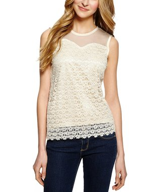 Beige Lace Sleeveless Top