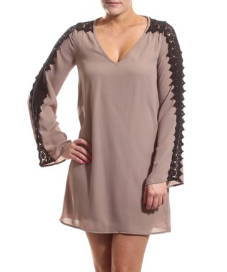 Taupe Drop-Waist Dress