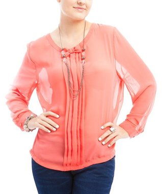 Coral Sheer Bow Pleated Scoop Neck Top - Plus