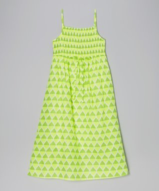 Apollo Lime Teardrop Shirred Maxi Dress - Girls