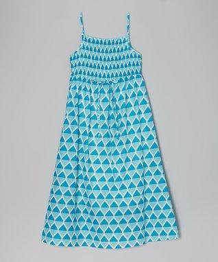 Apollo Turquoise Teardrop Shirred Maxi Dress - Girls