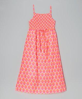 Apollo Pink Teardrop Shirred Maxi Dress - Girls