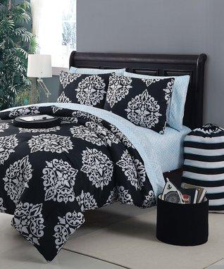 Chocolate & Blue Jardin Luxury Comforter Set