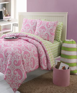 Pink & Green Kennedy LX Twin Comforter Set