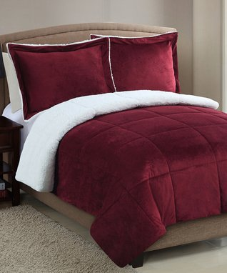 Black Micro Mink Faux-Sherpa Comforter Set