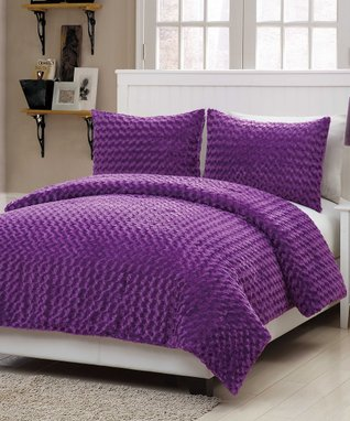 Purple Rose Fur Comforter Set