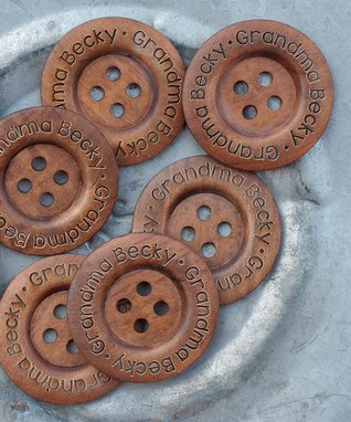 Dark Wood Personalized Button - Set of Eight