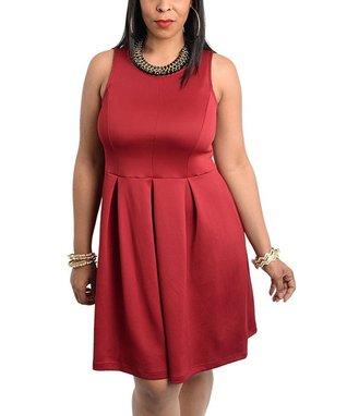 Burgundy Pleated Sleeveless Dress - Plus