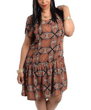 Rust & Black Arabesque Drop-Waist Dress - Plus