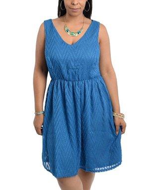 Blue Pleated Sleeveless Dress - Plus
