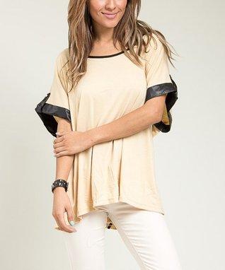 Khaki Faux Leather-Trim Top - Plus