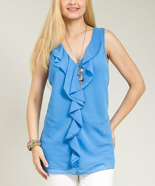 Blue Ruffle Sleeveless V-Neck Top - Plus