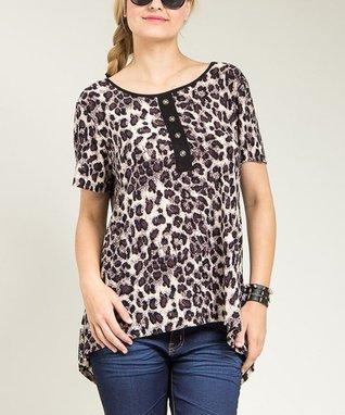 Brown & Black Cheetah Button Scoop Neck Top - Plus