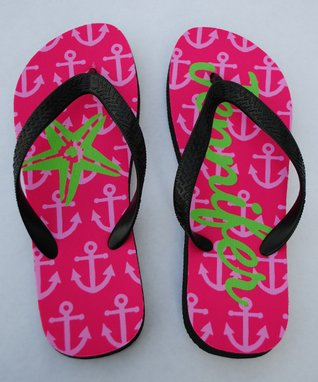 Pink Anchor Personalized Flip-Flop