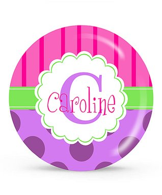 Dots & Stripes Personalized Plate
