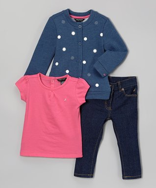 Blue Heather Dot Button-Up Jacket Set - Infant & Toddler