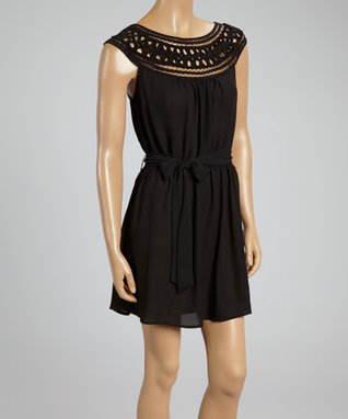 Black Crochet Tie-Waist Cap-Sleeve Dress
