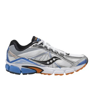 White & Blue Grid Ignition 4 Running Shoe - Men