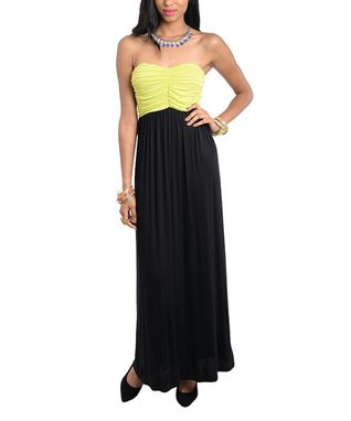 Black & Neon Yellow Ruched Strapless Maxi Dress