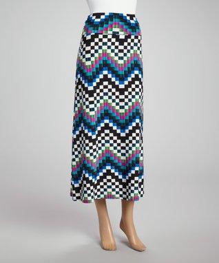 Blue & White Checkerboard Maxi Skirt