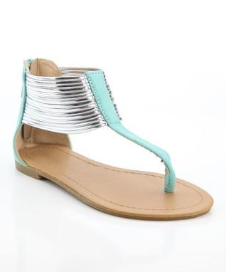 Tan Bead T-Strap Sandal