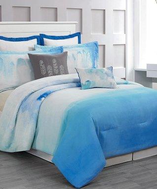 Cloudy Teal Skye Hotel Six-Piece Comforter Set