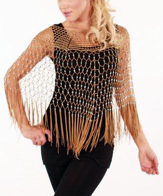 Gold Net Fringe Poncho