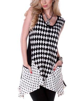 Black & Beige Geometric Sidetail Tunic
