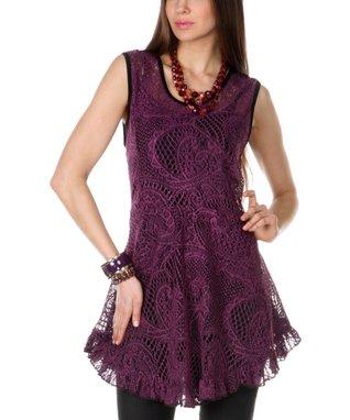 Pink Sheer Paisley Knit Ruffle Tunic