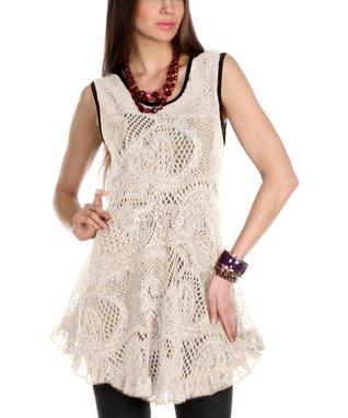 Cream Sheer Paisley Knit Ruffle Tunic