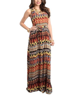 Red Tribal Tie-Waist Maxi Dress