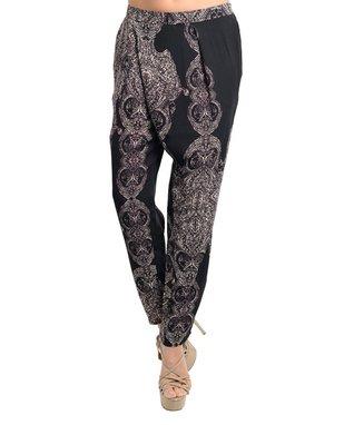 Black & Purple Arabesque Harem Pants