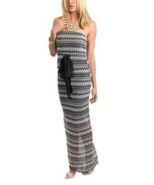 Black & Gray Zigzag Strapless Maxi Dress