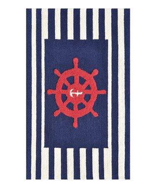 Navy Wheel Rug