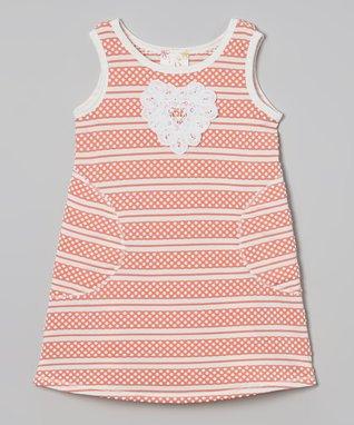 Peach Heart Stripe Shift Dress - Toddler & Girls