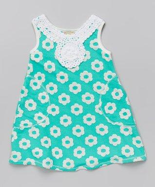 Mint Floral Crocheted Shift Dress - Toddler & Girls