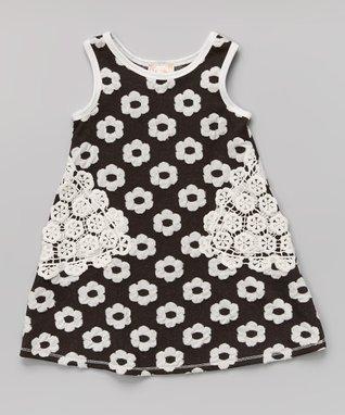 Black Floral Crocheted Shift Dress - Toddler & Girls