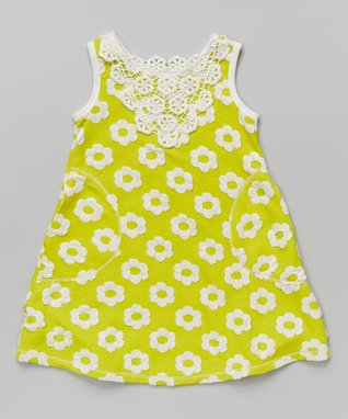 Citron Floral Crocheted Shift Dress - Toddler & Girls